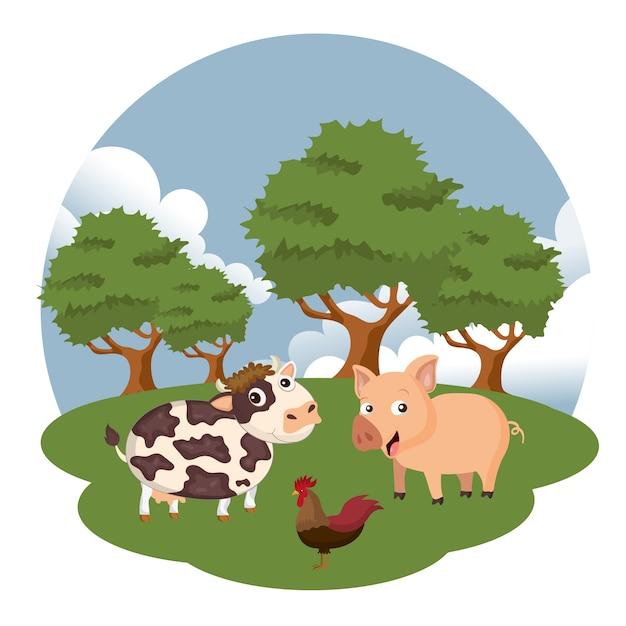 Mucca, maiale e gallo nella scena agricola Vettore Premium