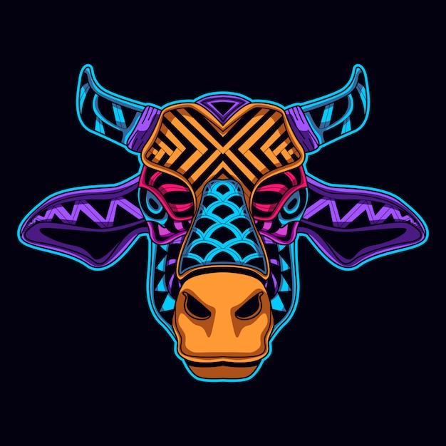 Mucca nello stile di arte di colore al neon Vettore Premium