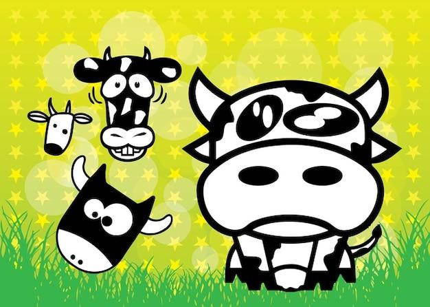 Mucche cartoni animati scaricare vettori gratis