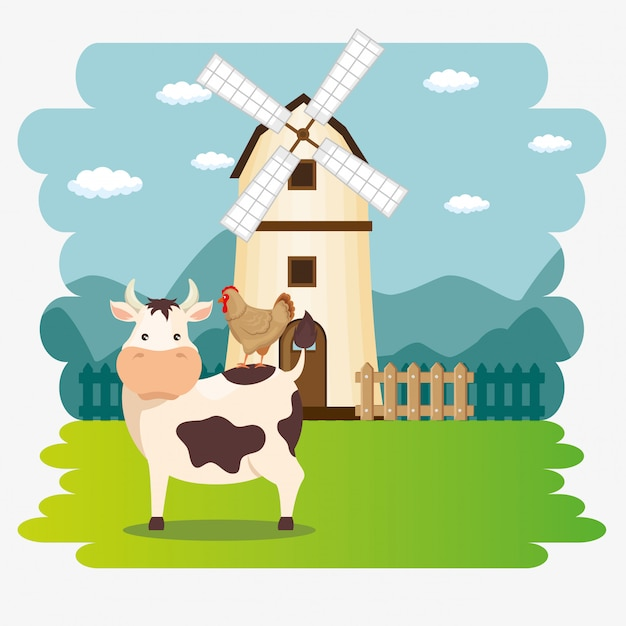 Mucche nella scena agricola Vettore gratuito