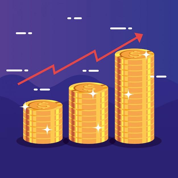 Mucchi di monete con la freccia su infografica Vettore gratuito