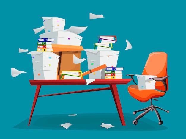 Mucchio di documenti cartacei sul tavolo dell'ufficio. Vettore Premium