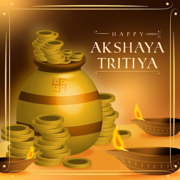 Mucchio felice di akshaya tritiya di monete d'oro Vettore gratuito