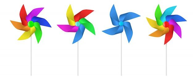 Multi elica del mulino a vento di carta del giocattolo colorato. Vettore Premium