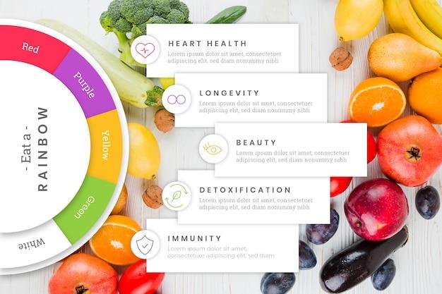 Multicolore mangia un modello di infografica arcobaleno Vettore gratuito