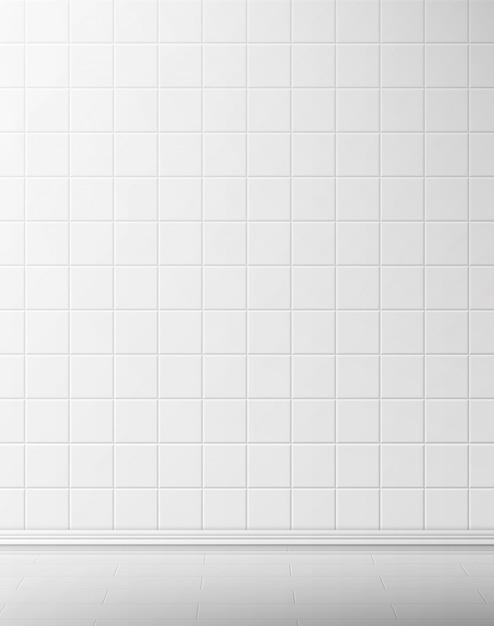 Muro di piastrelle bianche e pavimento in bagno Vettore gratuito