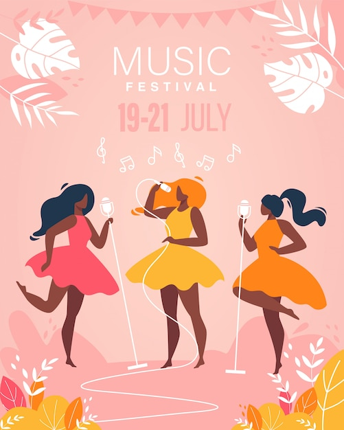 Music festival girls musical band perform on stage poster Vettore Premium