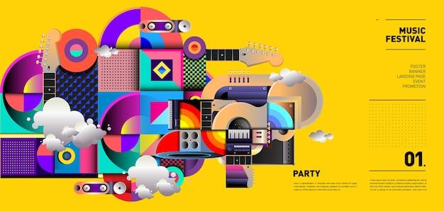 Music festival illustration design per party ed event Vettore Premium
