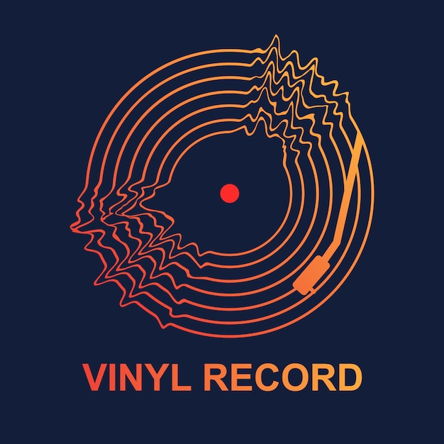 Musica d'onda astratta del disco in vinile Vettore Premium