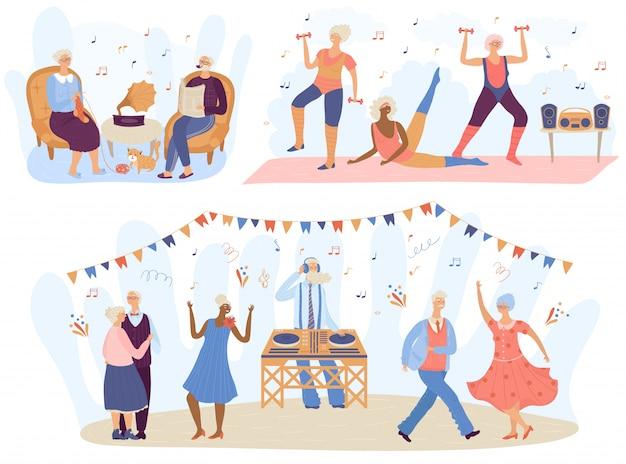 Musica della gente senior anziana, illustrazione dei personaggi dei cartoni animati Vettore Premium