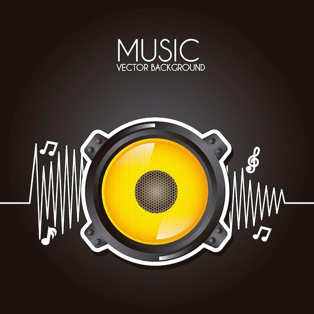 Musica design su sfondo nero illustrazione vettoriale Vettore Premium