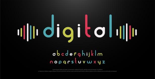 Musica di carattere alfabeto digitale con tipografia colorato Vettore Premium