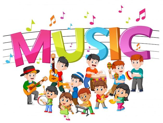 Musica di parole con gruppo musicale che suona musica Vettore Premium