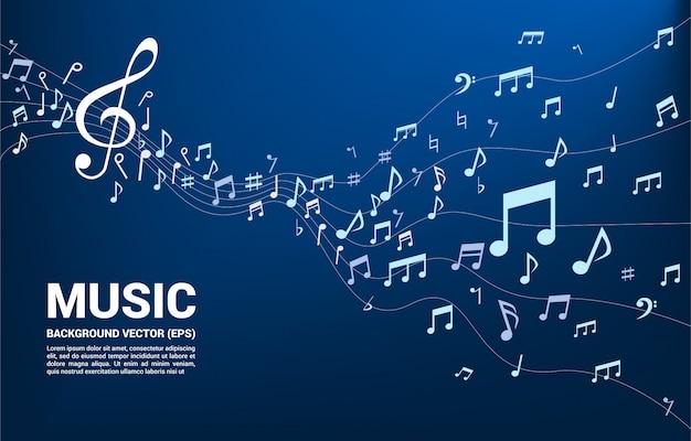 Musica melodia nota flusso danzante Vettore Premium