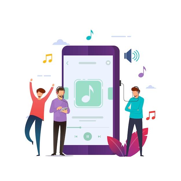 Musica mobile Vettore Premium