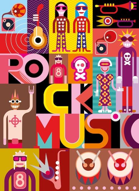 Musica rock - illustrazione vettoriale Vettore Premium
