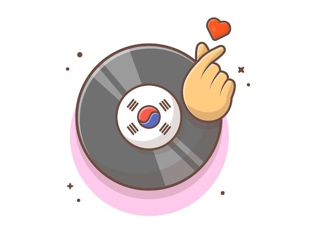 Musica su disco in vinile con cuore a dito e musica simbolo. record di musica del vinile k-pop bianco isolato Vettore Premium