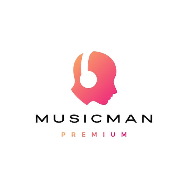 Musica uomo testa umana con logo cuffie Vettore Premium