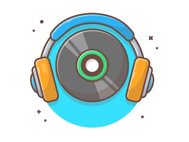 Musica vinile con cuffie musica. bianco d'annata del record di musica del vinile isolato Vettore Premium