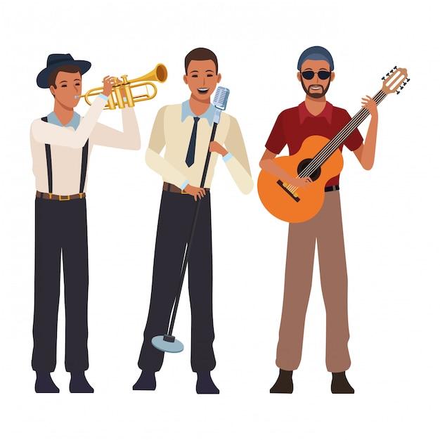 Musicista a suonare la tromba e cantare Vettore Premium