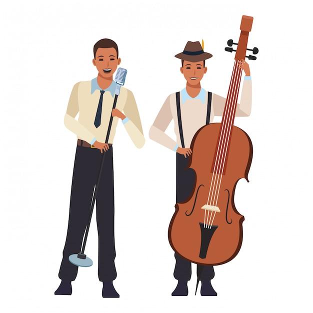 Musicista che suona il basso e canta Vettore Premium
