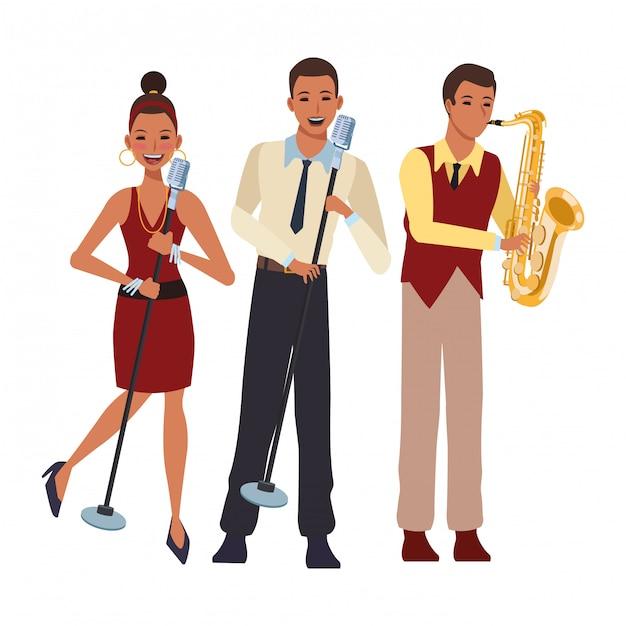 Musicista che suona il sassofono e canta Vettore Premium