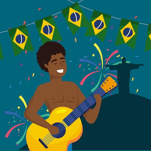 Musicista uomo con chitarra e festa brasiliana Vettore Premium