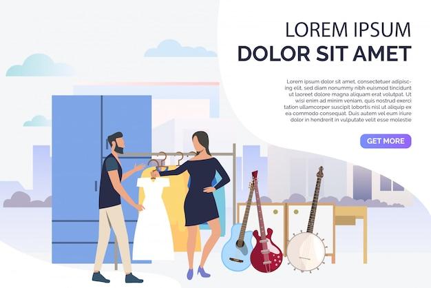 Musicisti che scelgono i vestiti per il concerto Vettore gratuito