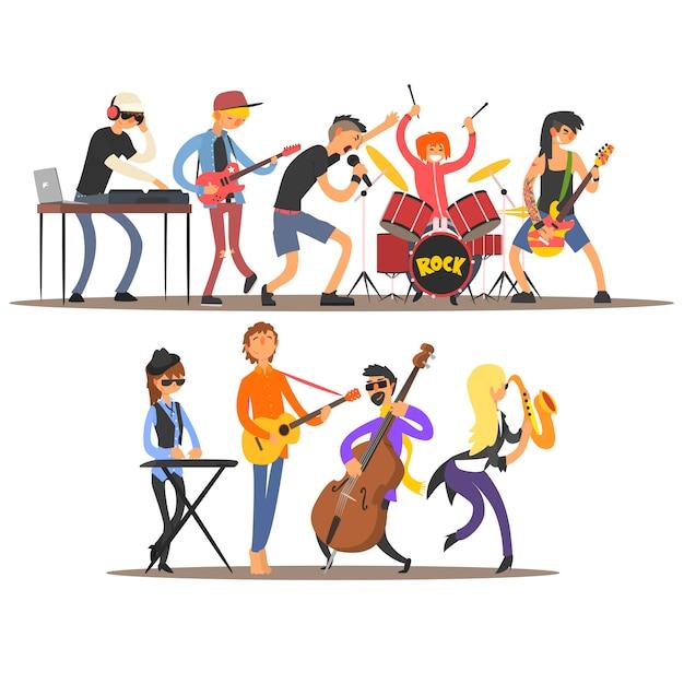 Musicisti e strumenti musicali. illustrazione Vettore Premium