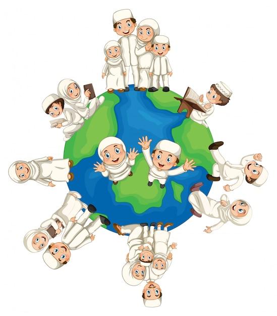 Musulmani in tutto il mondo Vettore Premium