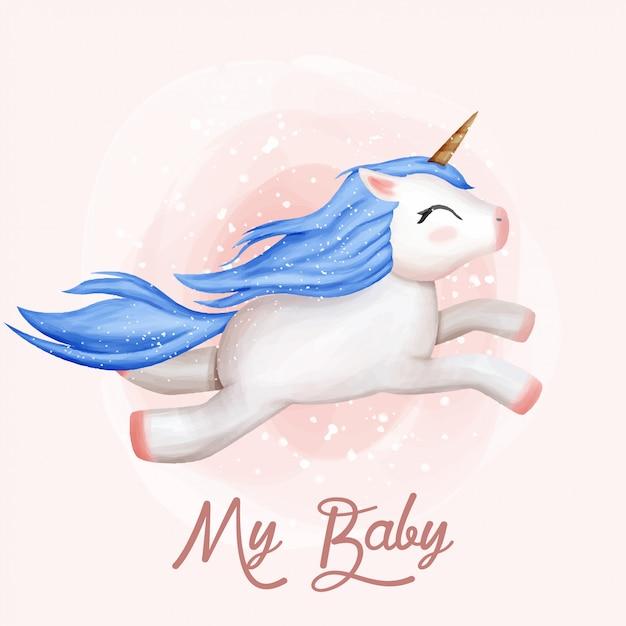 My baby unicorn cute flying Vettore Premium