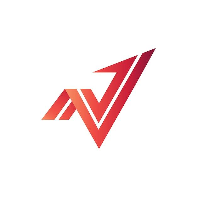 N e v arrow logo vector Vettore Premium