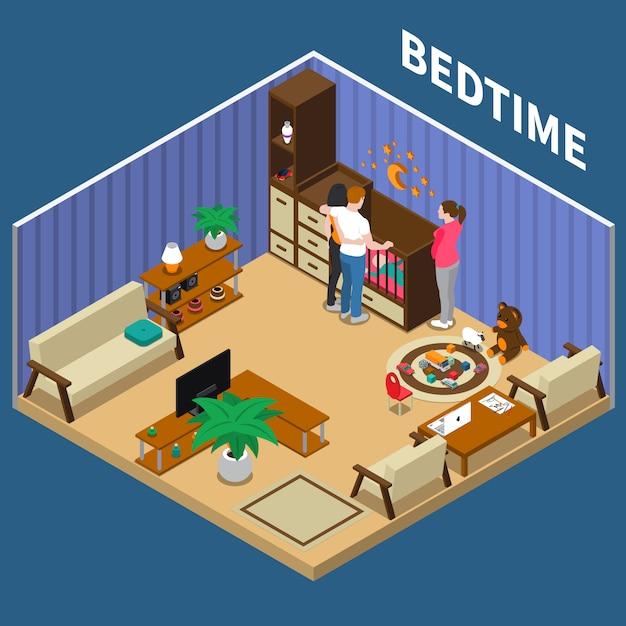 Nanny child bedtime isometric composizione Vettore gratuito
