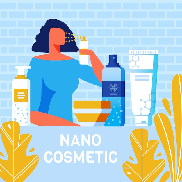 Nano cosmetics for body care poster pubblicitario Vettore Premium