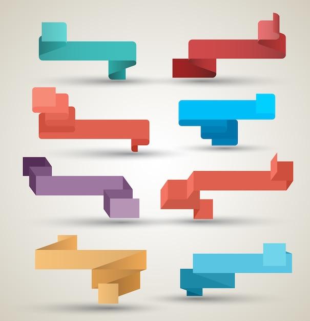 Nastri collezione origami stile moderno Vettore Premium