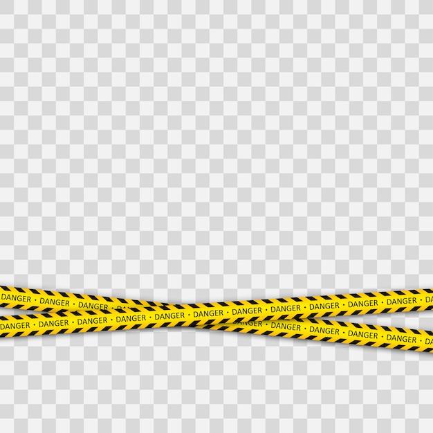 Nastri di avvertimento contro le minacce. linea a strisce gialla nera. Vettore Premium