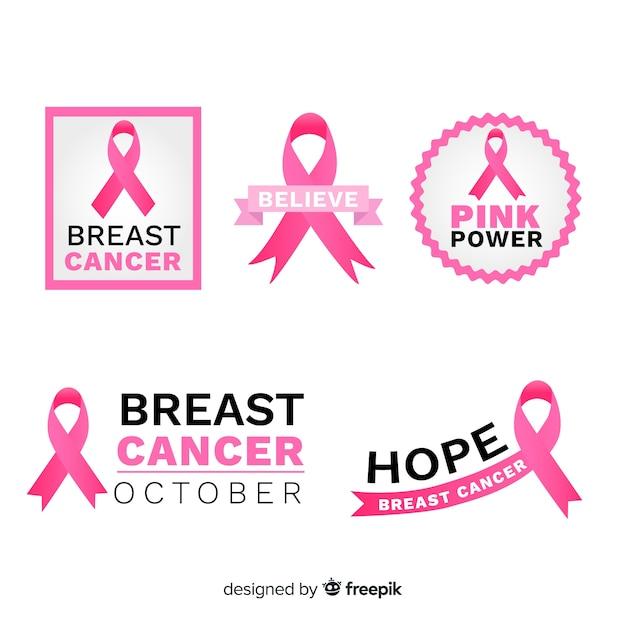 Nastri rosa tematici per la consapevolezza del cancro al seno Vettore gratuito