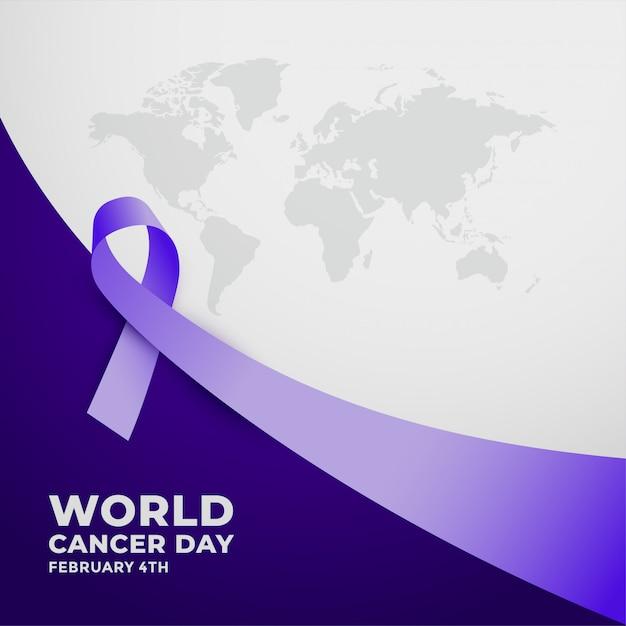 Nastrino viola lungo per la giornata mondiale del cancro Vettore gratuito