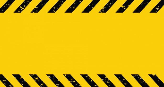 Nastro cautela nero e giallo. sfondo vuoto avviso. | Vettore Premium