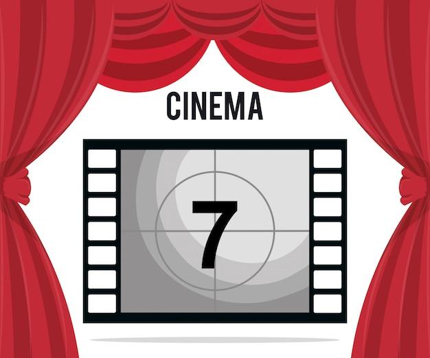 Nastro cinema con icona intrattenimento numero sette Vettore gratuito