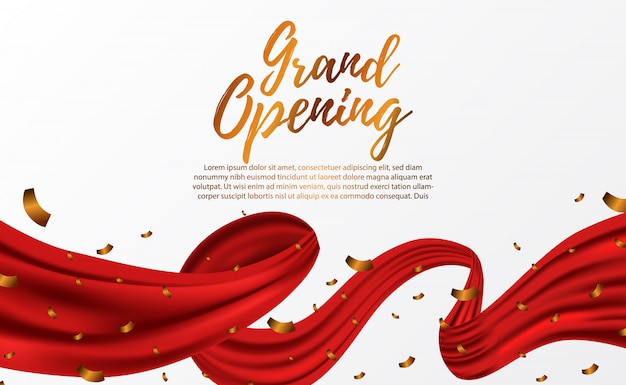 Nastro di seta rossa di lusso di grande apertura Vettore Premium