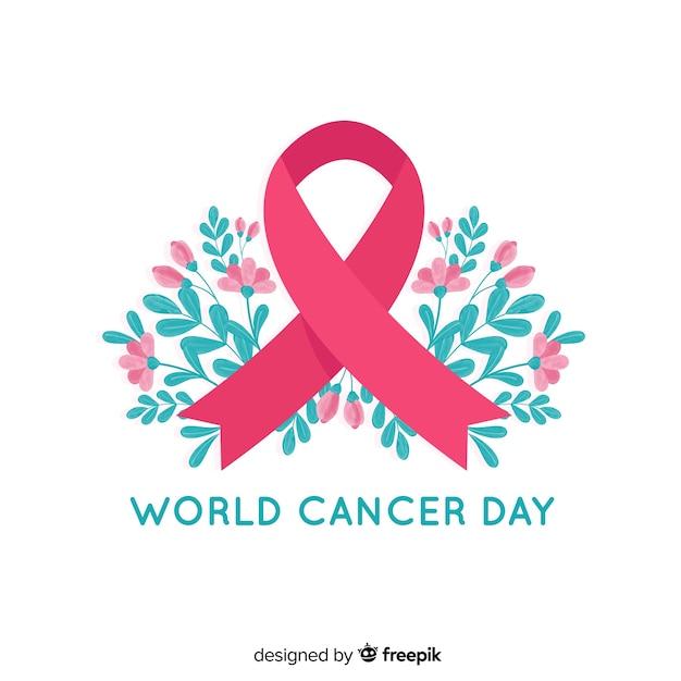 Nastro floreale di consapevolezza di giornata mondiale del cancro su fondo bianco Vettore gratuito