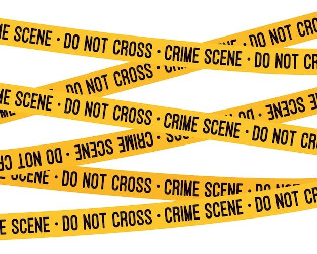 Nastro giallo scena del crimine Vettore Premium