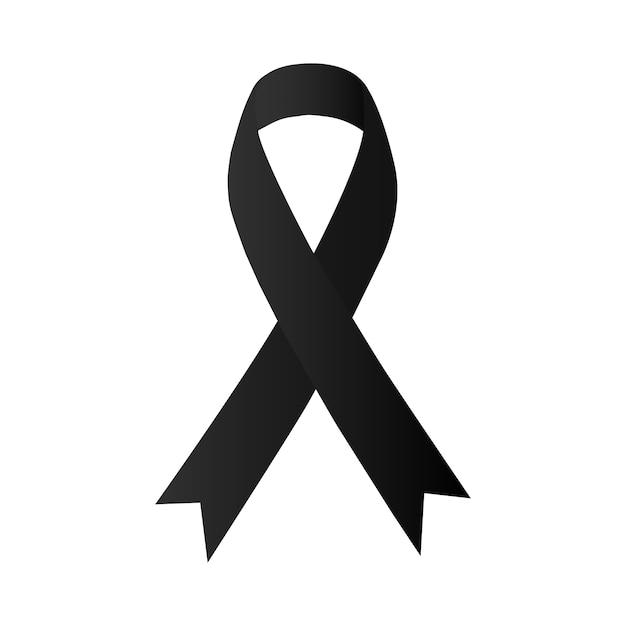 Nastro nero di consapevolezza. melanoma e cancro della pelle Vettore Premium
