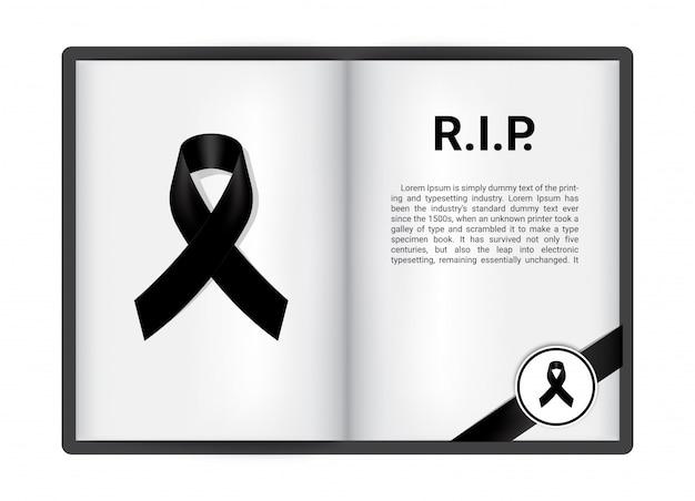 Nastro nero su blanck libro aperto Vettore Premium