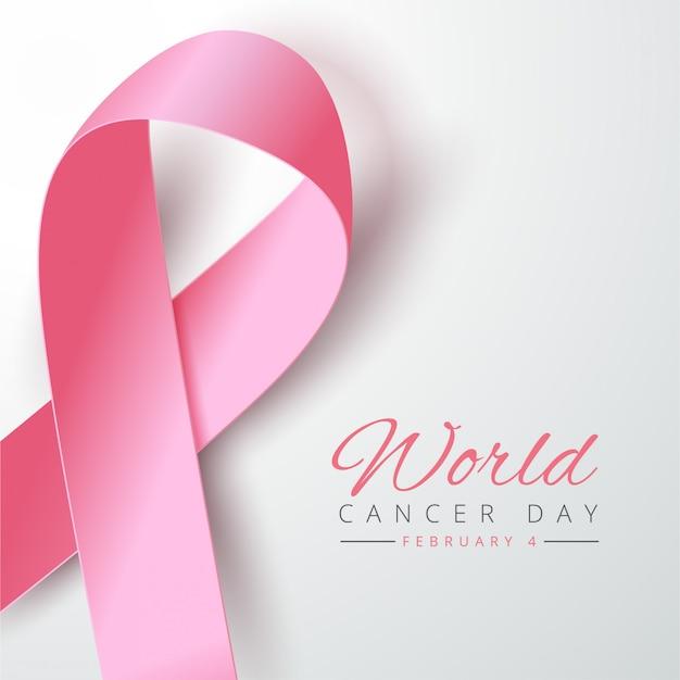 Nastro rosa realistico per il giorno del cancro Vettore Premium