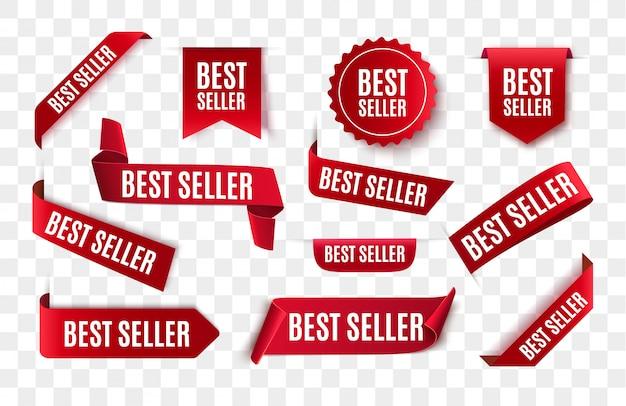 Nastro rosso del best-seller isolato. Vettore Premium