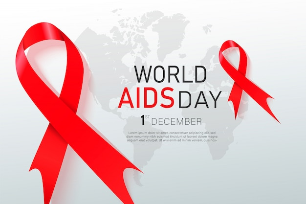 Nastro rosso di consapevolezza dell'hiv. giornata mondiale dell'aids. Vettore Premium