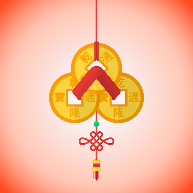 Nastro rosso in lotti cinese delle monete di feng shui del nuovo anno tre Vettore Premium