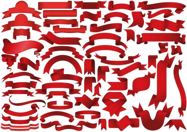 Nastro rosso o set di banner Vettore Premium